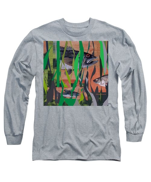 Long Sleeve T-Shirt featuring the mixed media Lake Habitat by Andrew Drozdowicz