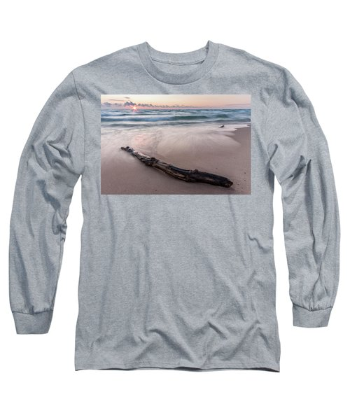 Long Sleeve T-Shirt featuring the photograph Lake Michigan Driftwood by Adam Romanowicz