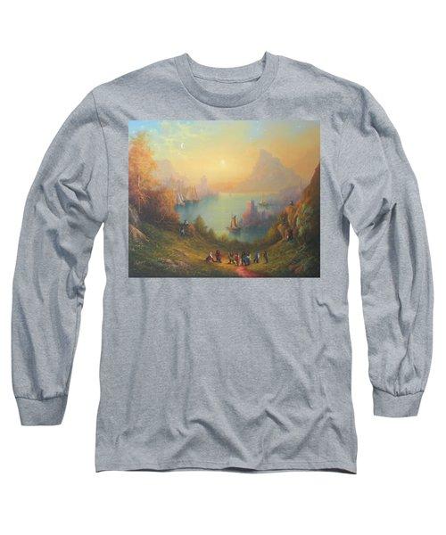 Lake Town Thirteen Dwarves And A Hobbit Named Bilbo Long Sleeve T-Shirt by Joe  Gilronan