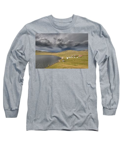 Long Sleeve T-Shirt featuring the photograph Lakeside Camp, Khorgo, 2016 by Hitendra SINKAR
