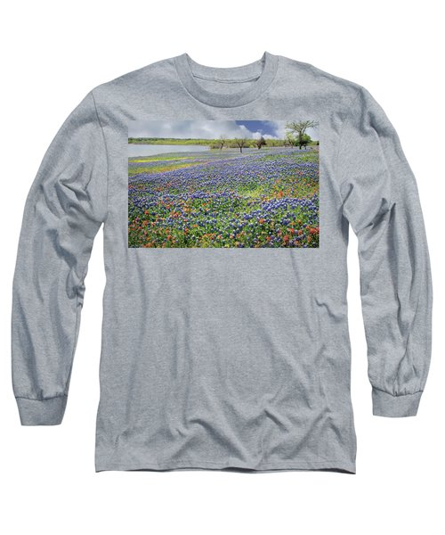 Long Sleeve T-Shirt featuring the photograph Lakeside Texas Bluebonnets by David and Carol Kelly