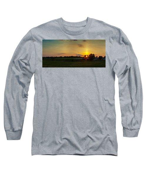 Lancaster Farm Sunset Panorama Long Sleeve T-Shirt