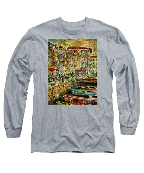 Long Sleeve T-Shirt featuring the painting Land And Water And People Therebetween by Alfred Motzer