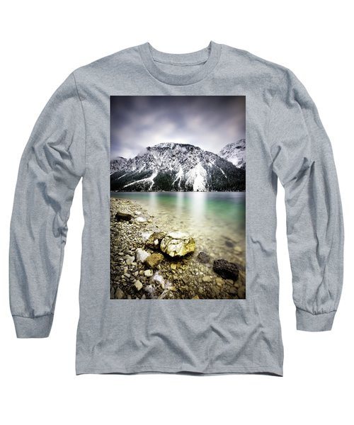 Landscape Of Plansee Lake And Alps Mountains During Winter, Snowy View, Tyrol, Austria. Long Sleeve T-Shirt