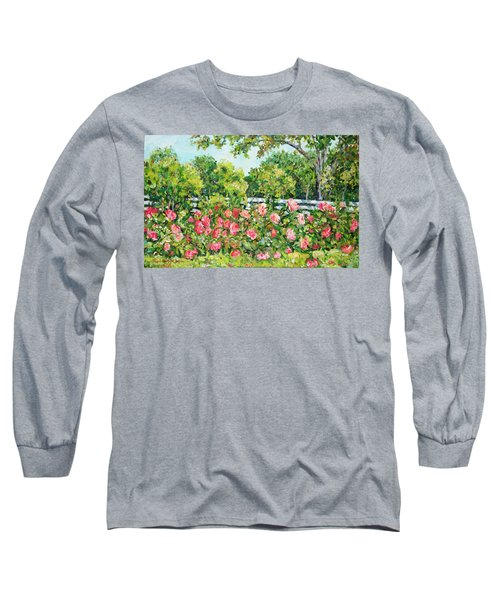 Landscape With Roses Fence Long Sleeve T-Shirt