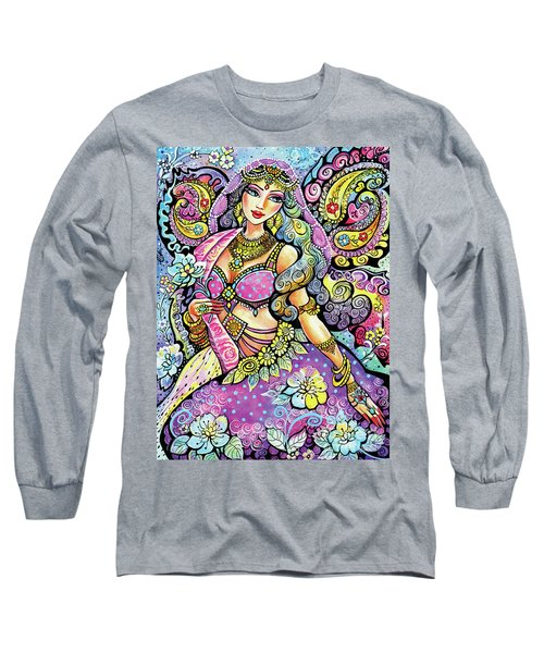 Purple Paisley Flower  Long Sleeve T-Shirt