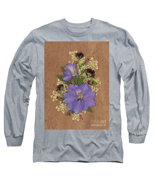 Larkspur And Queen-ann's-lace Pressed Flower Arrangement Long Sleeve T-Shirt