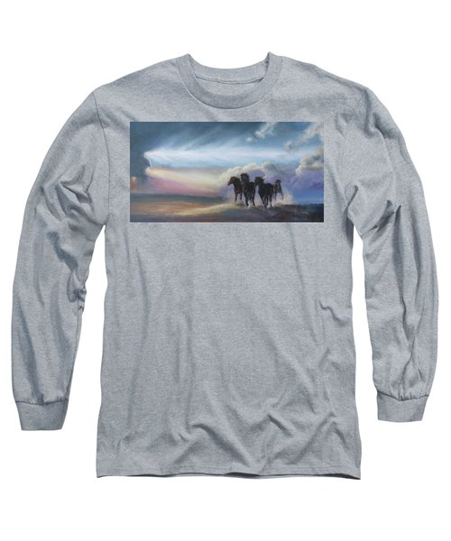 Last Run Of The Day Long Sleeve T-Shirt by Karen Kennedy Chatham