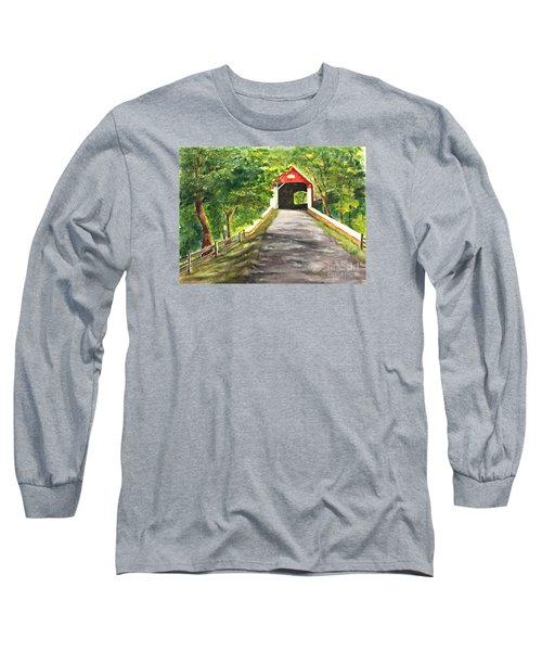 Long Sleeve T-Shirt featuring the painting Late Afternoon At Knechts Covered Bridge   by Lucia Grilletto