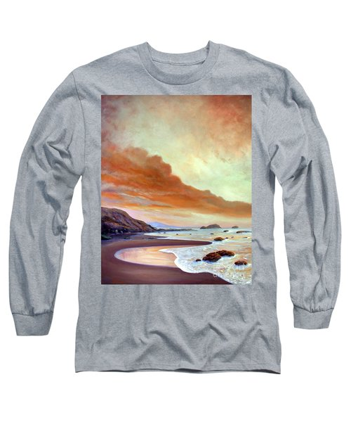 Long Sleeve T-Shirt featuring the painting Late Afternoon On San Simeon Beach by Michael Rock
