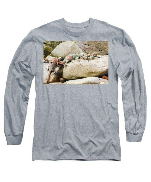 Lava Lizard On Galapagos Islands Long Sleeve T-Shirt by Marek Poplawski