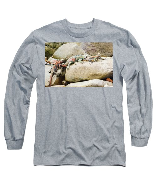 Lava Lizard On Galapagos Islands Long Sleeve T-Shirt
