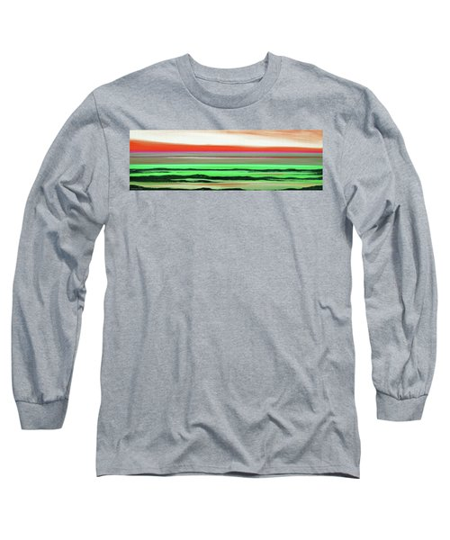 Lava Rock Abstract Panoramic Sunset In Red And Green Long Sleeve T-Shirt
