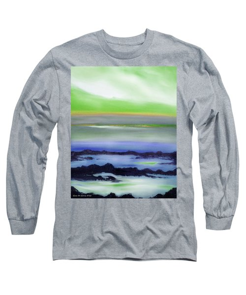 Lava Rock Abstract Sunset In Blue And Green Long Sleeve T-Shirt