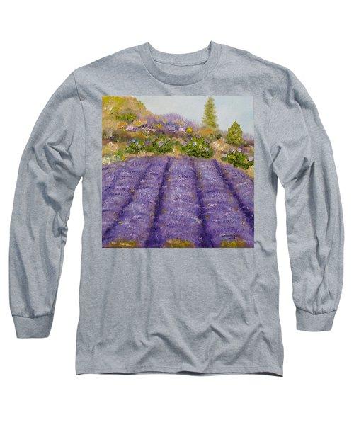 Lavender Field Long Sleeve T-Shirt by Judith Rhue