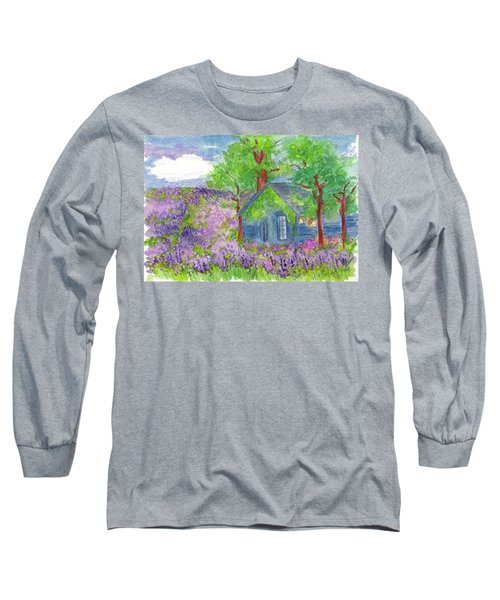 Long Sleeve T-Shirt featuring the painting Lavender Fields by Cathie Richardson