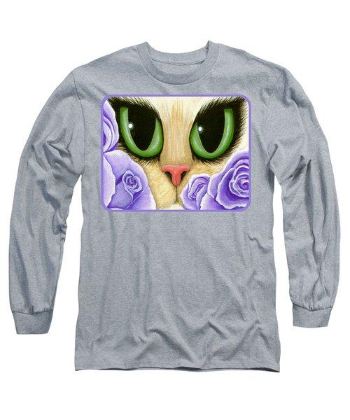 Lavender Roses Cat - Green Eyes Long Sleeve T-Shirt