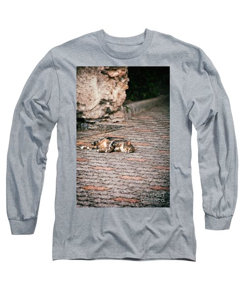 Long Sleeve T-Shirt featuring the photograph Lazy Cat    by Silvia Ganora
