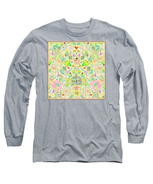 Leaf And Flower And Heart Pattern  Long Sleeve T-Shirt