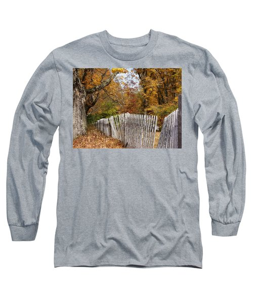 Leaves Along The Fence Long Sleeve T-Shirt by Lois Lepisto