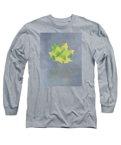 Leaves Through Maple Leaf On Texture 4 Long Sleeve T-Shirt by Gary Slawsky