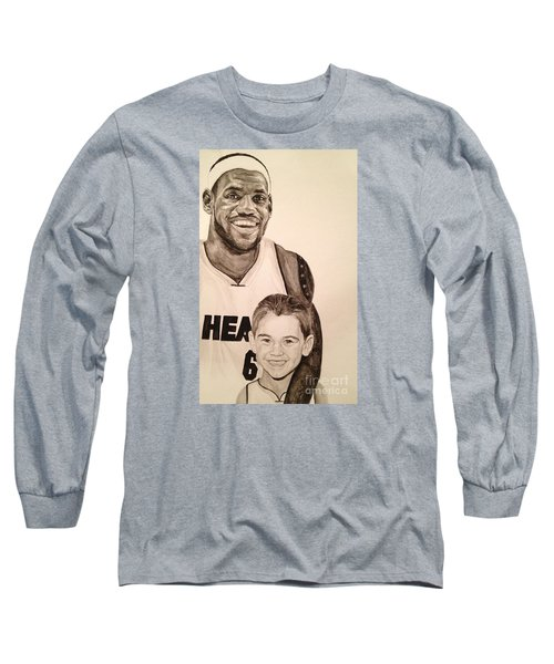 Long Sleeve T-Shirt featuring the painting Lebron And Carter by Tamir Barkan