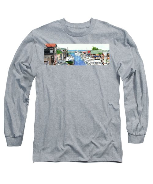 Leland Fishtown, Fishing Village, Leland Painting, Michigan Painting, Boating, Boat Painting Long Sleeve T-Shirt