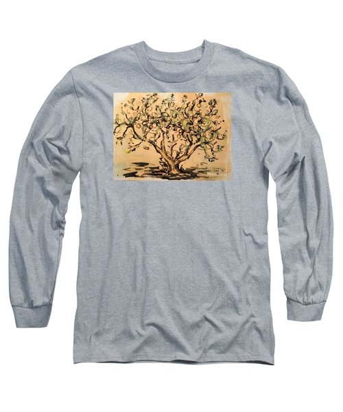 Long Sleeve T-Shirt featuring the painting Lemon Tree by Maria Langgle