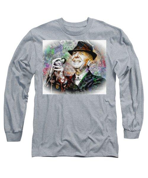 Leonard Cohen - Tribute Painting Long Sleeve T-Shirt
