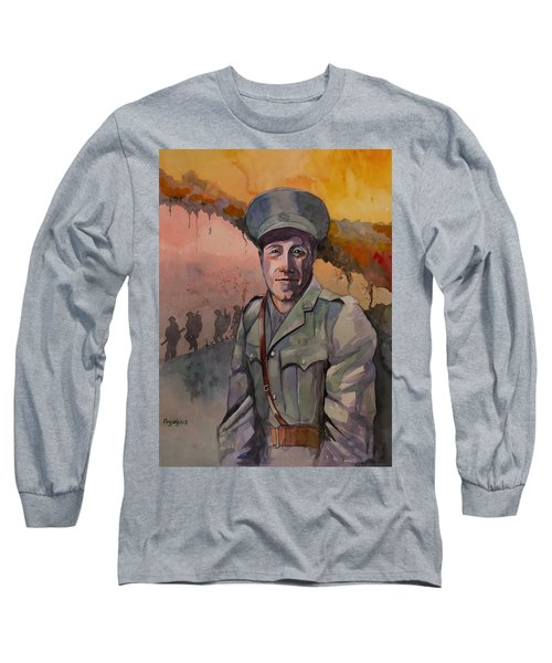 Long Sleeve T-Shirt featuring the painting Leonard Keysor Vc by Ray Agius