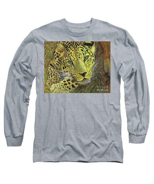 Leopard Gaze Long Sleeve T-Shirt by David Joyner