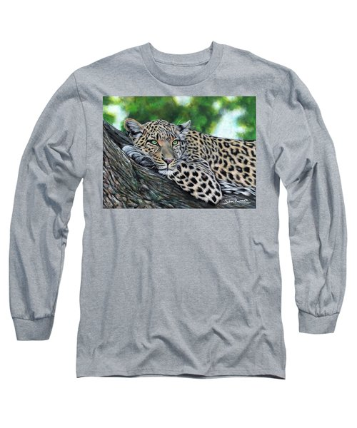 Leopard On Branch Long Sleeve T-Shirt