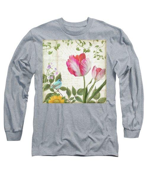 Les Magnifiques Fleurs IIi - Magnificent Garden Flowers Parrot Tulips N Indigo Bunting Songbird Long Sleeve T-Shirt by Audrey Jeanne Roberts