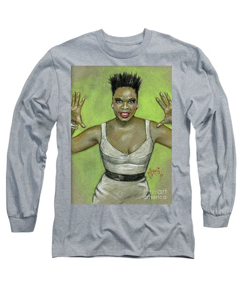Long Sleeve T-Shirt featuring the drawing Leslie Jones by P J Lewis