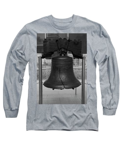 Liberty Bell Bw Long Sleeve T-Shirt by Chris Flees