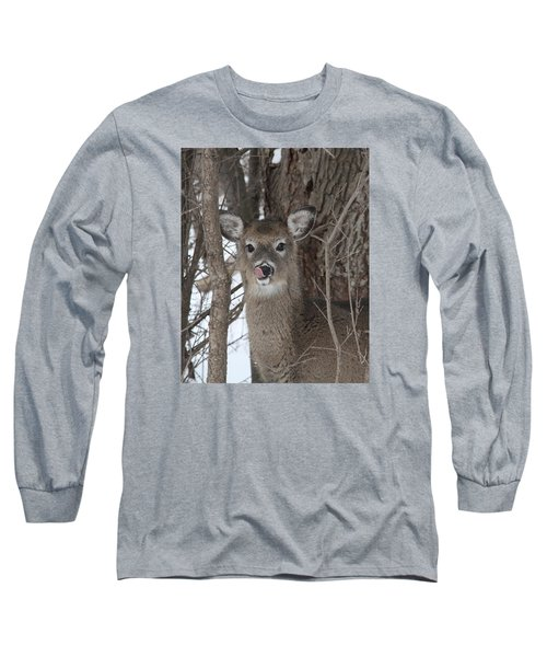 Long Sleeve T-Shirt featuring the photograph Licking Her Lips by Doris Potter