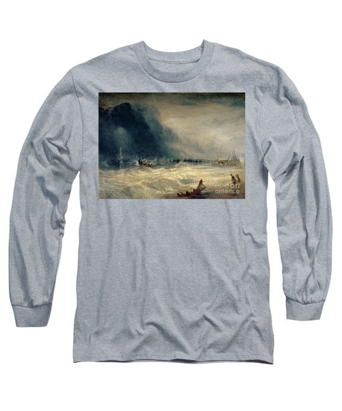Lifeboat And Manby Apparatus Going Off To A Stranded Vessel Making Signal Of Distress Long Sleeve T-Shirt