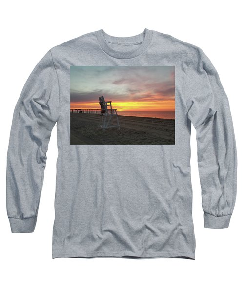 Lifeguard Stand On The Beach At Sunrise Long Sleeve T-Shirt