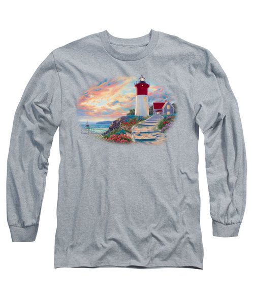 Lighthouse At Sunset Long Sleeve T-Shirt