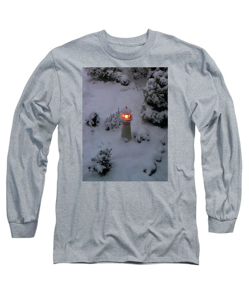 Long Sleeve T-Shirt featuring the photograph Lighthouse In The Snow by Kathryn Meyer