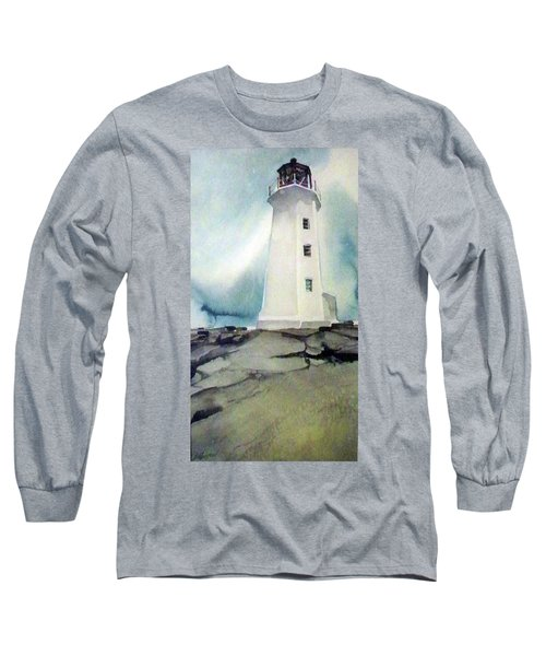 Long Sleeve T-Shirt featuring the painting Lighthouse Rock by Ed Heaton