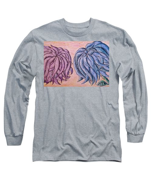 Lilac And Blue Flowers For You Long Sleeve T-Shirt by Megan Walsh
