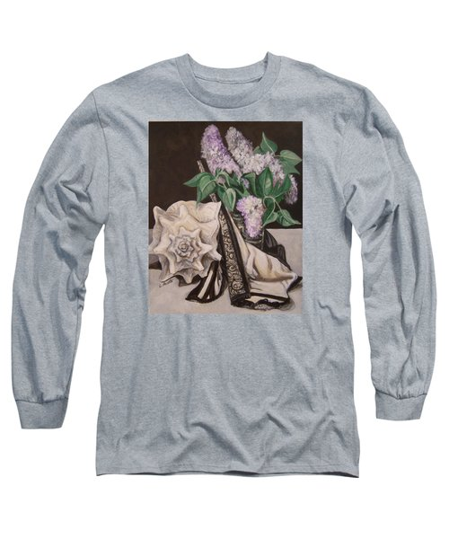 Long Sleeve T-Shirt featuring the painting Lilac And Lingerie by Laura Aceto