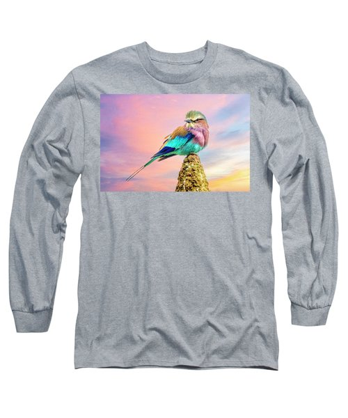 Lilac Breasted Roller At Sunset Long Sleeve T-Shirt by Brian Tarr