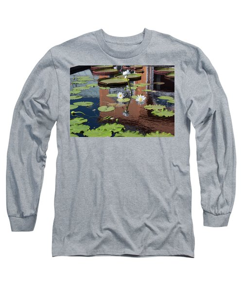 Lily Pond Reflections Long Sleeve T-Shirt by Suzanne Gaff