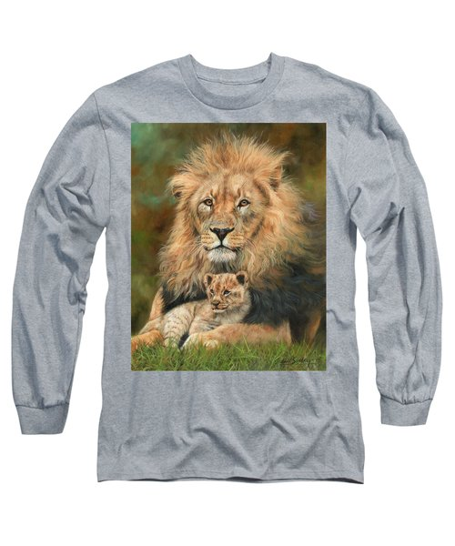 Lion And Cub Long Sleeve T-Shirt by David Stribbling