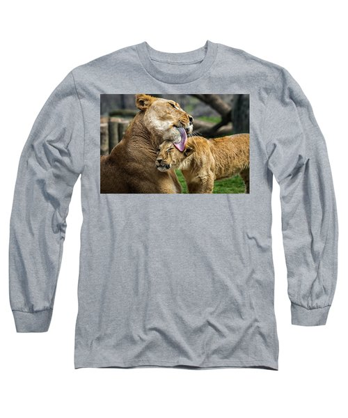 Lion Mother Licking Her Cub Long Sleeve T-Shirt