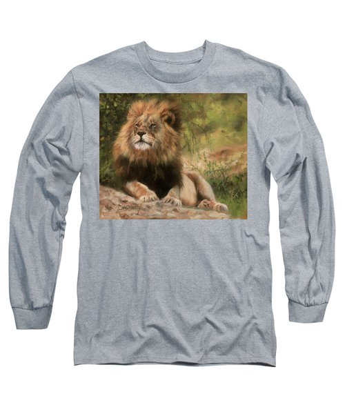 Long Sleeve T-Shirt featuring the painting Lion Resting by David Stribbling