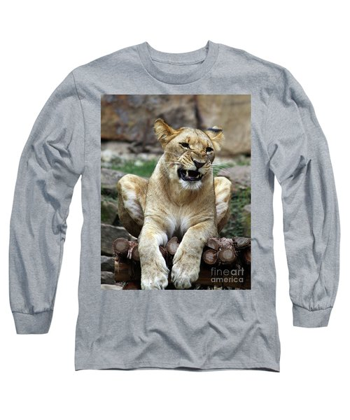 Lioness 2 Long Sleeve T-Shirt by Inspirational Photo Creations Audrey Woods