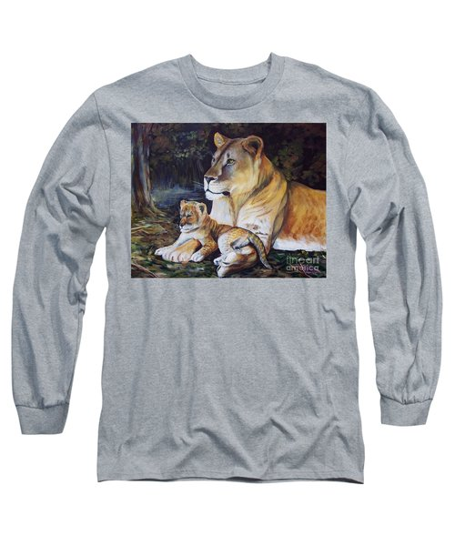 Lioness And Cub Long Sleeve T-Shirt by Ruanna Sion Shadd a'Dann'l Yoder